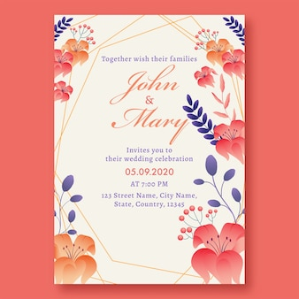 会場詳細付きの美しい花の結婚式の招待カード。