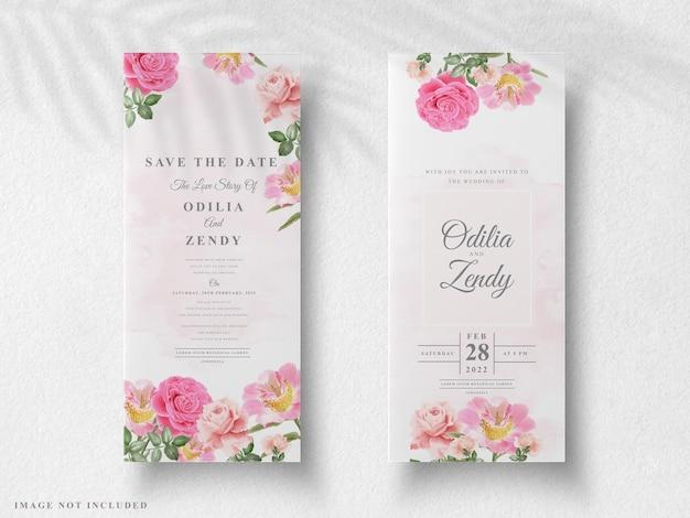 아름다운 꽃 결혼식 초대 카드