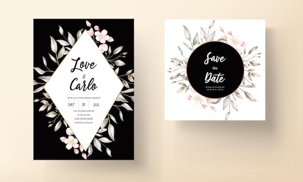 Красивая цветочная свадебная пригласительная открытка