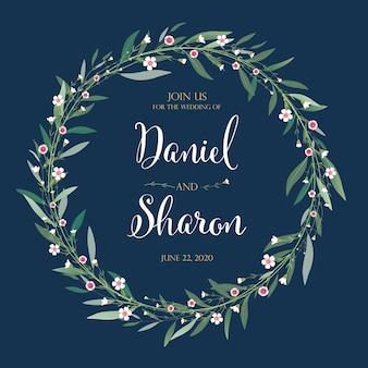 Beautiful floral wedding invitation card.