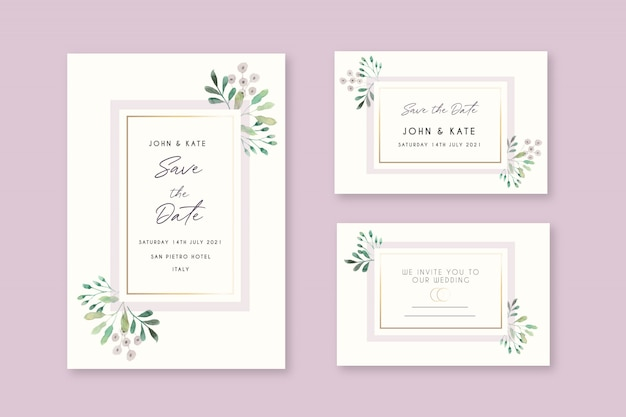 Beautiful floral wedding invitation cards
