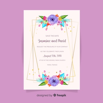 Beautiful floral wedding invitation concept