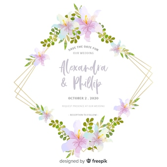 Beautiful floral wedding invitation design