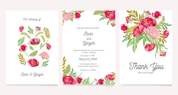 Beautiful floral wedding invitation set card template set