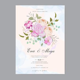 Beautiful floral wedding invitation tamplate