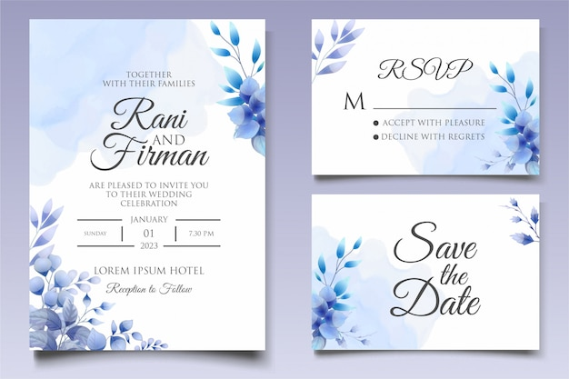 Beautiful floral wedding invitation template in classic blue