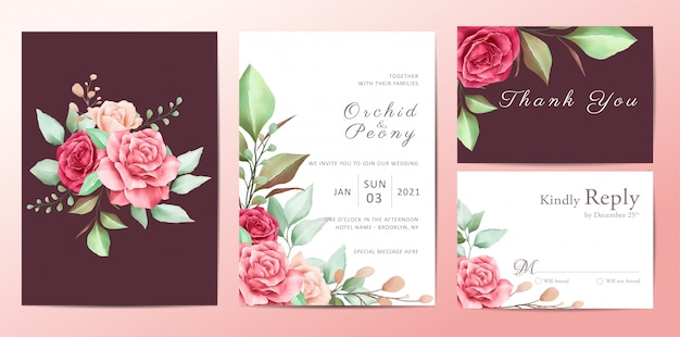 Beautiful floral wedding invitation template set of roses flowers