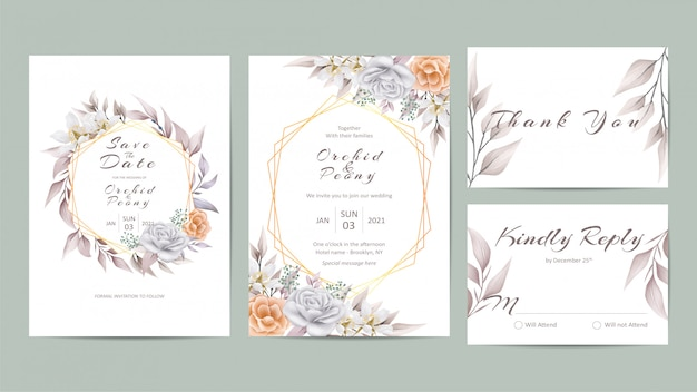 Beautiful floral wedding invitation template set