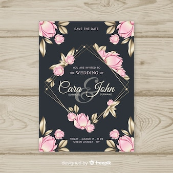 Beautiful floral wedding invitation template with golden elements