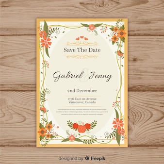 Beautiful floral wedding invitation template with golden frame