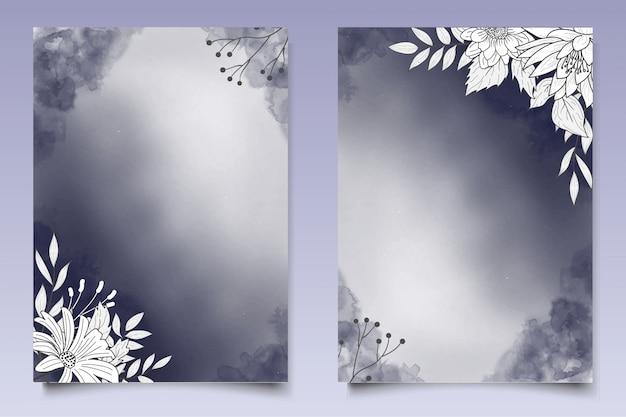 手描きスタイルの美しい花の結婚式の招待状のテンプレート