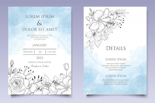 손으로 그린 스타일으로 아름 다운 꽃 결혼 초대장 서식 파일