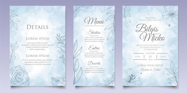 ラインアートスタイルの美しい花の結婚式の招待状のテンプレート