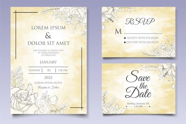 Красивые цветочные свадебные приглашения в стиле lineart