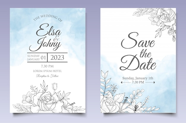 Beautiful floral wedding invitation template with lineart style