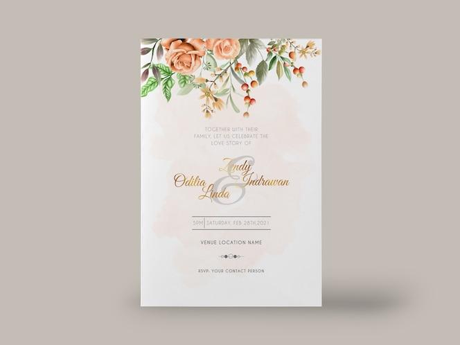 Bellissimo modello di invito matrimonio floreale