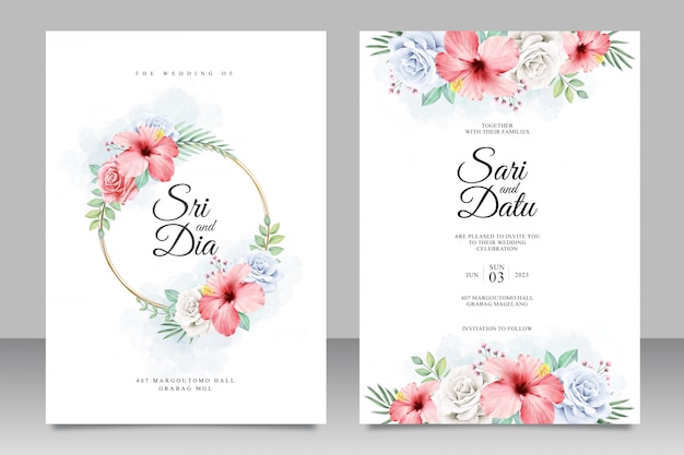 Beautiful floral wedding invitation template