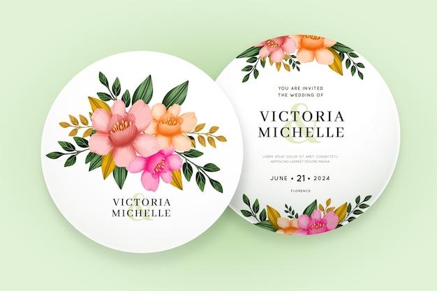 Beautiful floral wedding invitation template