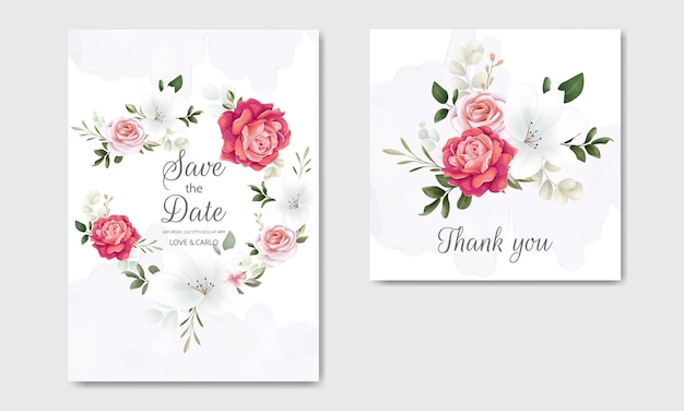 Beautiful floral wedding invitation with blooming roses and green leaves