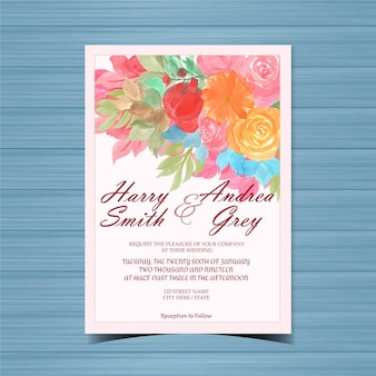 カラフルな花と美しい花の結婚式の招待状