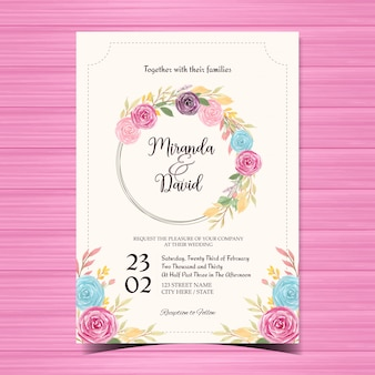 Beautiful floral wedding invitation with colorful flowers