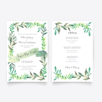 Beautiful floral wedding invitation with menu template