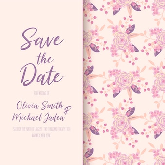 Beautiful floral wedding invitation