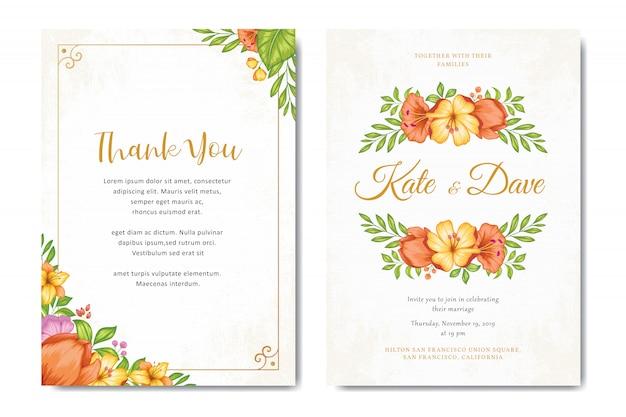 Beautiful floral wedding invitation