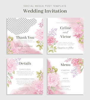 美しい花の結婚式のソーシャルメディアの投稿テンプレート
