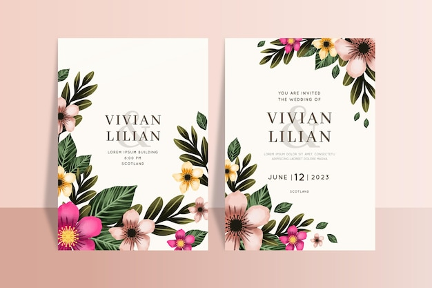 Beautiful floral weeding card templates