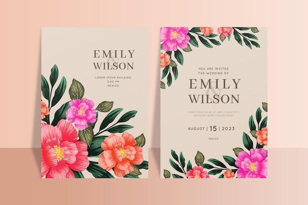 美しい花の除草カードテンプレート