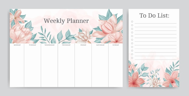 Beautiful floral weekly planner and to do list template