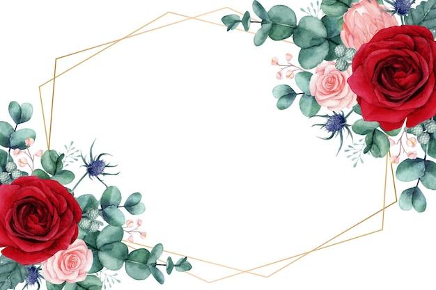 水彩のバラとユーカリの葉と美しい花
