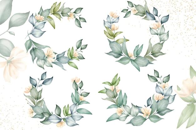 結婚式の招待状のための美しい花の花輪コレクション