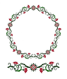 Beautiful floral wreath and seamless paint brush