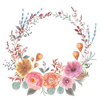美しい花の花輪の水彩画