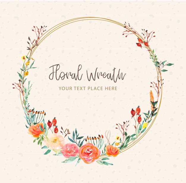 Beautiful floral wreath watercolor