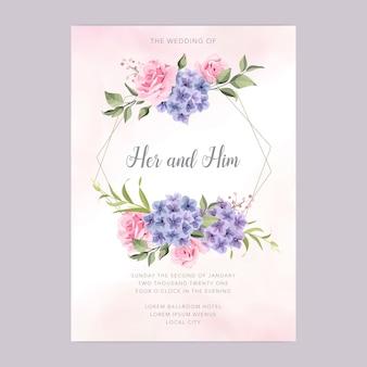 美しいフローラルリースの結婚式の招待カードテンプレート