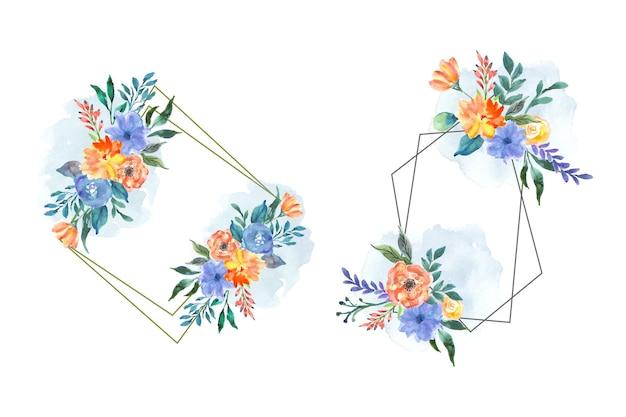 花の水彩画を手描きで美しい花の花輪