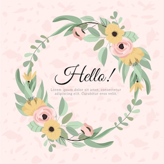 Beautiful floral wreath with texture background