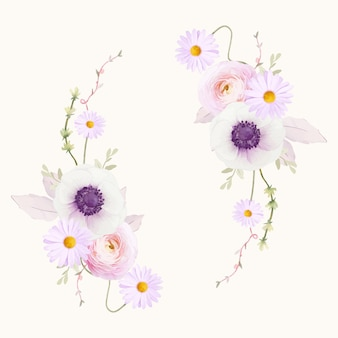 수채화 아네모네 꽃과 아름다운 꽃 화환