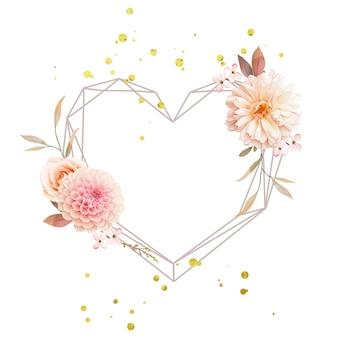 水彩ダリアとバラの美しい花の花輪