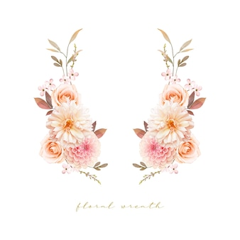 수채화 달리아와 장미와 아름 다운 꽃 화 환