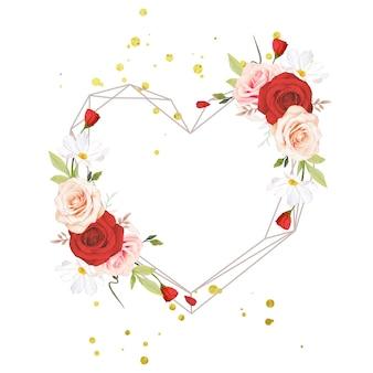 水彩のピンクと赤のバラと美しい花の花輪