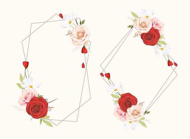 수채화 핑크와 붉은 장미와 아름다운 꽃 화환