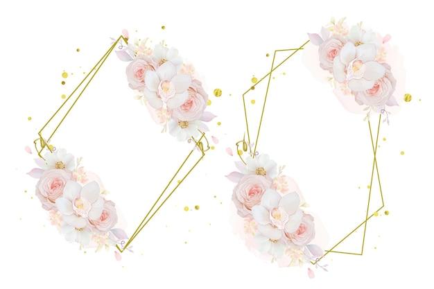 Bella ghirlanda floreale con orchidea rosa rosa acquerello e fiore di anemone