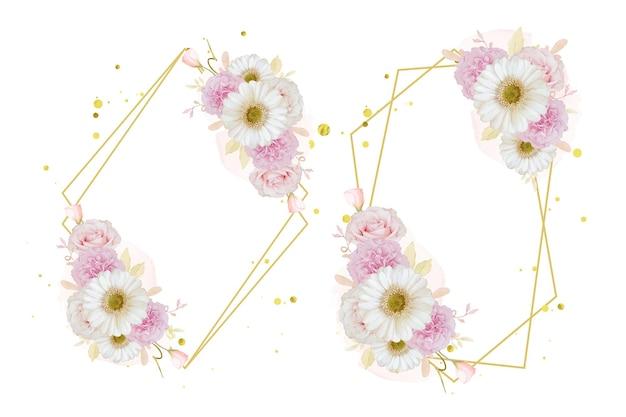Bellissima ghirlanda floreale con rosa rosa ad acquerello e fiore di gerbera bianca
