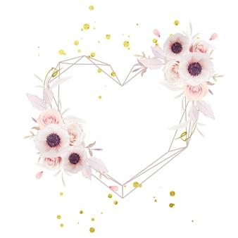 수채화 핑크 장미와 아네모네 꽃과 아름다운 꽃 화환 무료 벡터