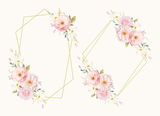 水彩ピンクのバラとダリアの美しい花の花輪