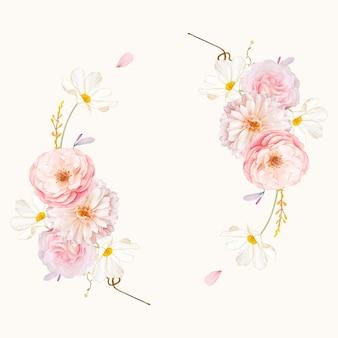 수채화 핑크 장미와 달리아와 아름다운 꽃 화환